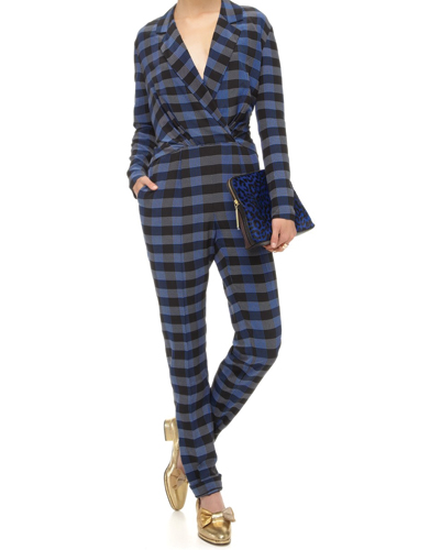 Formal Wrap Flannel Jumpsuit