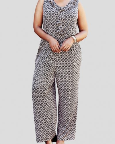 Frilly Casual Flannel Jumpsuit