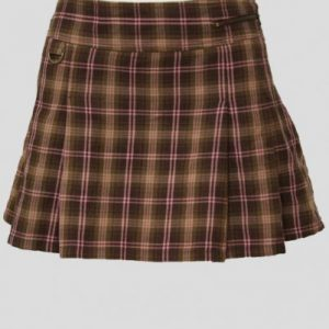 Frisky Brown and Cream Check Flannel Skirt