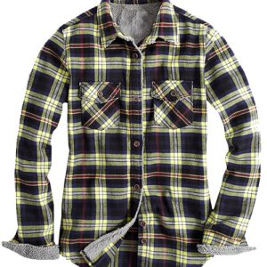 Fur Lined Black Checked Citrus Flannel Shirt