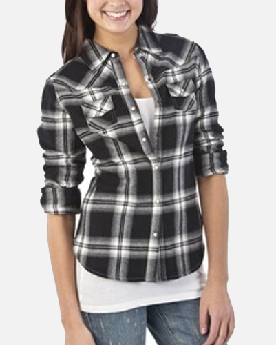 Glow In Black Checked Ladies Shirt
