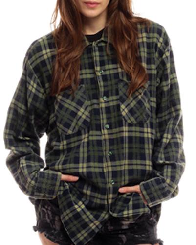 Green Boyfriend Wool Shirt suppliers