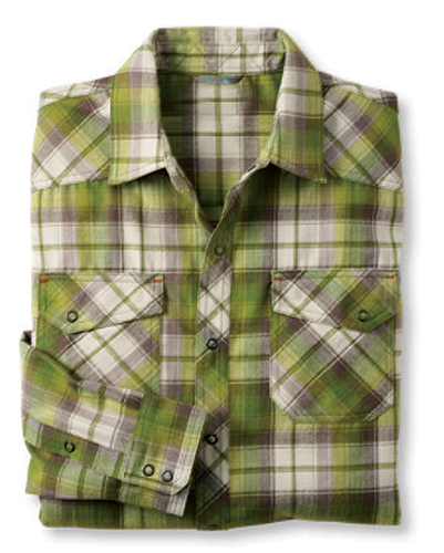 Green, White and Grey Trudging Check Shirt