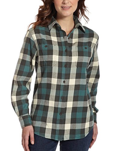 Grey and Dark Green Checked Flannel Shirt