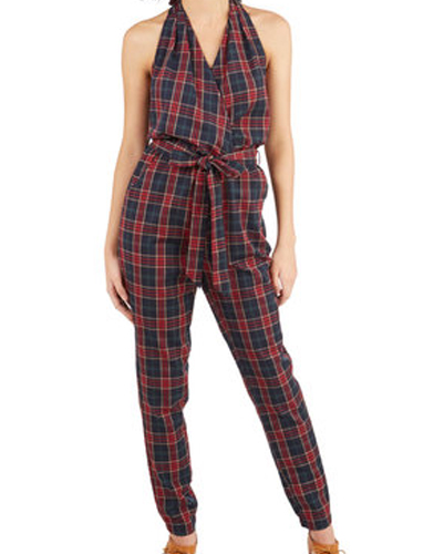 Grey and Red Earthy Flannel Jumpsuit