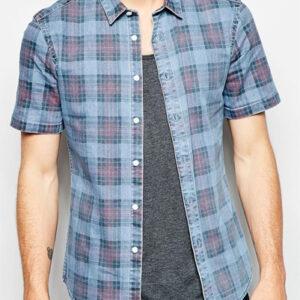 Greyish Blue and Mauve Checked Shirts Wholesale