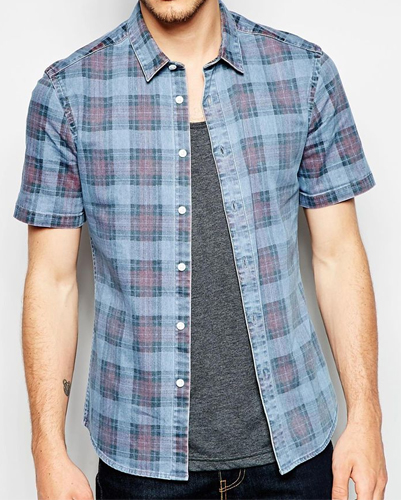 Greyish Blue and Mauve Checked Shirts Wholesale