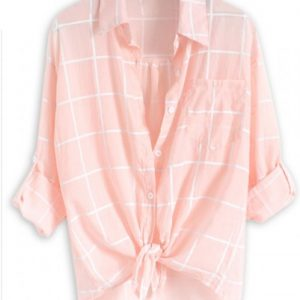Ice Wash Pink Cotton Flannel Shirt