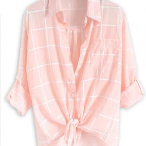 Ice Wash Pink Cotton Flannel Shirt