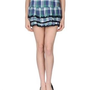 Inky Hued Check Flannel Skirt