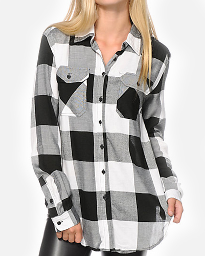 Irregular Black & Grey Ladies Checked Shirt