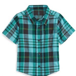 Jade Green Madras Checks Baby Shirt