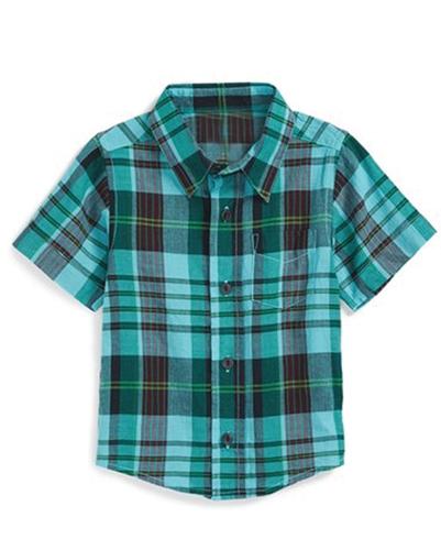 Jade Green Madras Checks Baby Shirt