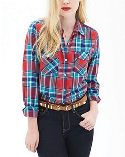 Kitty in Boots Red Flannel Shirt