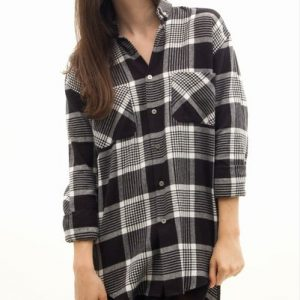 Lazy Boyfriend Black Checkered Shirt