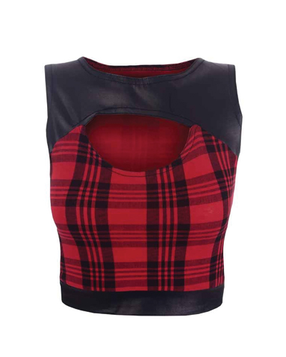 Leather Embellished Flannel Crop Top