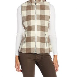 Light Beige Bold Checked Flannel Vest