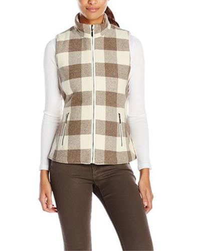 Light Beige Bold Checked Flannel Vest