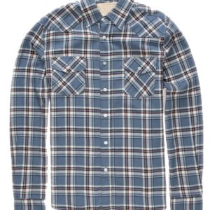 Light Blue and Brown Flannel Shirt