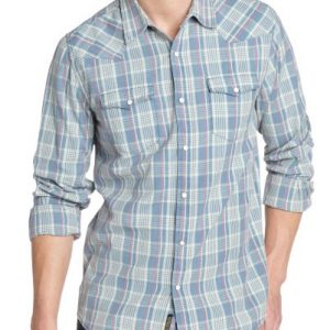 Light Blue and White Checked Flannel Shirt