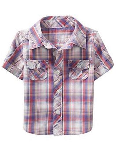 Little Lilac Crazy Madras Baby Shirt