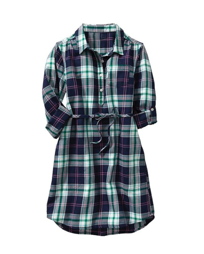 Long Shirt Flannel Check Dress