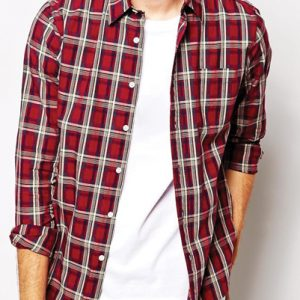 Maroon and White Checked Flannel Shirt