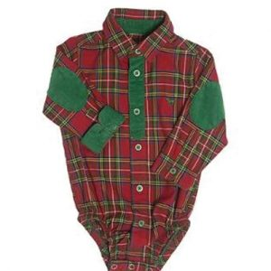 Maroon & Green Checked Diaper Shirt