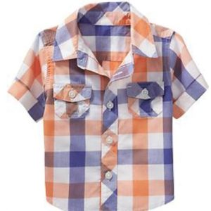 Melon And Blue Super Checks Baby Shirt
