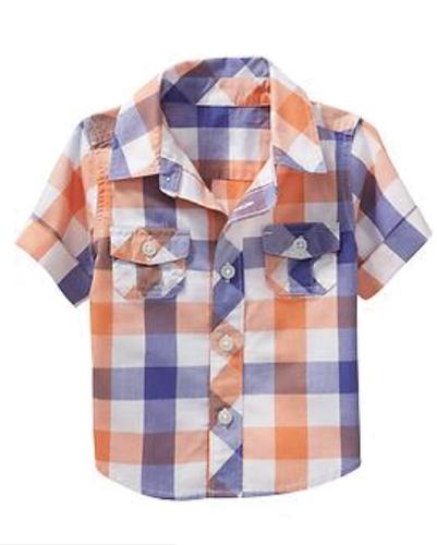Melon And Blue Super Checks Baby Shirt