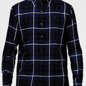 Midnight Blue Mixed Checks Flannel Shirt
