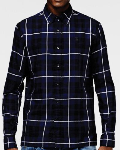 Midnight Blue Mixed Checks Flannel Shirt