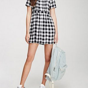 Mini Gathered Flannel Dress
