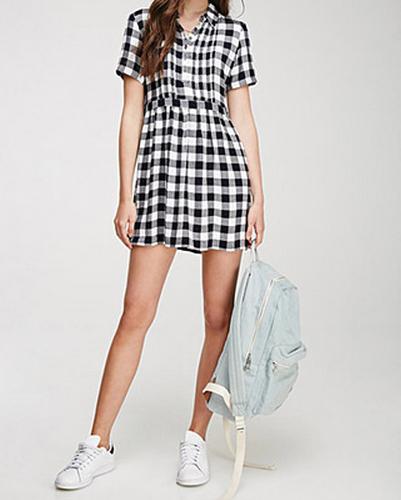 Mini Gathered Flannel Dress