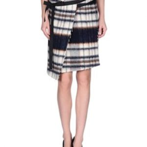 Monochromatic Bamboo Streak Check Flannel Skirt
