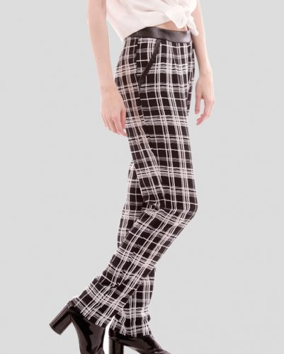 Monochromatic Rolled Up Flannel Pants