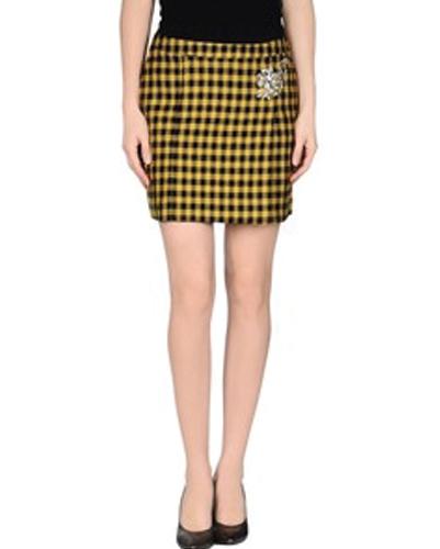 Mustard Storm Check Flannel Skirt