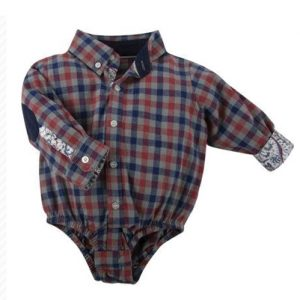 Navy Blue & Brick Checked Diaper Shirt