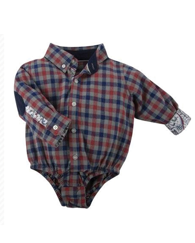 Navy Blue & Brick Checked Diaper Shirt