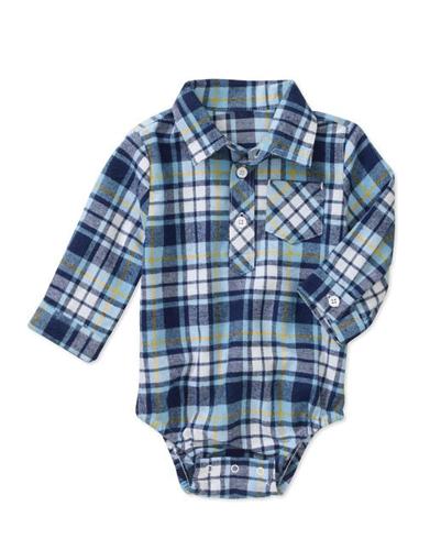 Navy Blue Checked Diaper Shirt