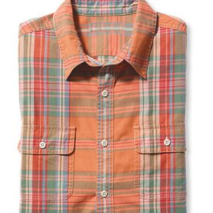 Neon Orange Combo Check Shirt
