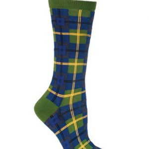 Olive Green and Blue Check Socks