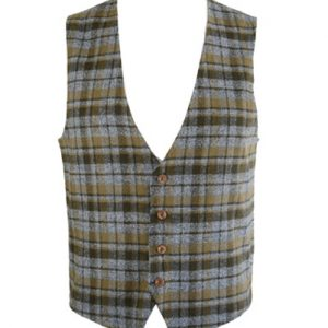 Olive Green Checked Flannel Vest