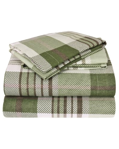 Olive Green Shepherd Checked Flannel Bed Sheet