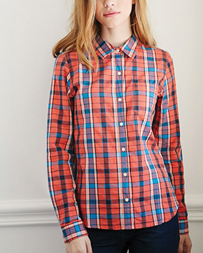 Orange and Blue Formal Checked Shirt
