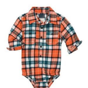 Orange Checked Diaper Shirt
