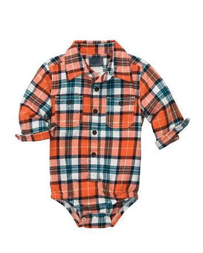 Orange Checked Diaper Shirt