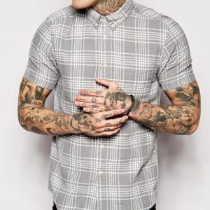 Pale Steel Fitted Cool Flannel Shirt