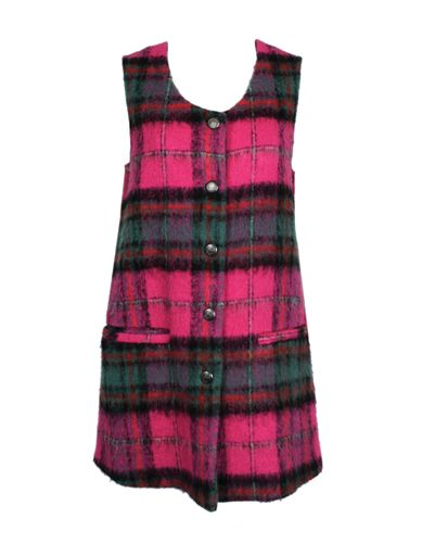 Wholesale Pastel Pink Green Checked Flannel Dress Manufacturer
