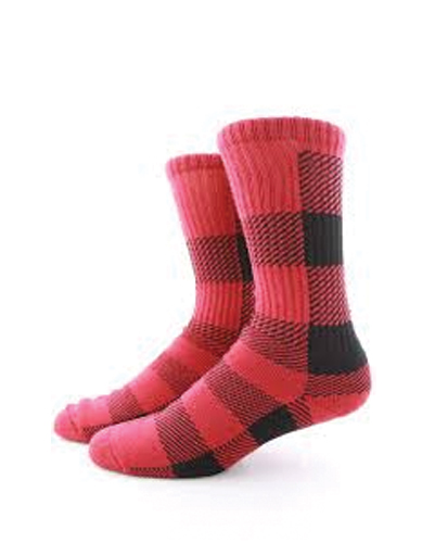 Pink and Black Knit Pattern Check Socks
